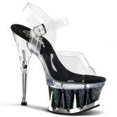 SPIKY-608MG Černé/průhledné sexy boty na podpatku a moderní spiky platformě