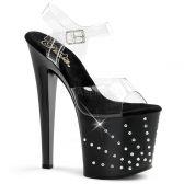 STARBURST-758 Černé/průhledné sexy boty na podpatku a platformě