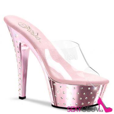 STARDUST-601 Růžové/průhledné strip taneční sexy boty na podpatku a platformě