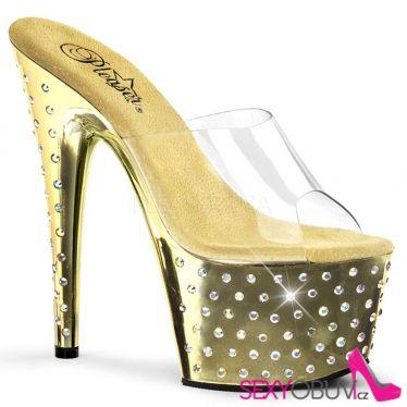 STARDUST-701 Zlaté/průhledné strip taneční sexy boty na podpatku a platformě