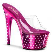 STARDUST-701 Růžové/průhledné strip taneční sexy boty na podpatku a platformě