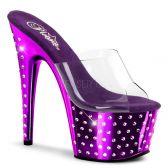 STARDUST-701 Fialové/průhledné strip taneční sexy boty na podpatku a platformě