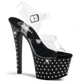 STARDUST-708 Černé/průhledné pole dance taneční sexy boty na podpatku a platformě