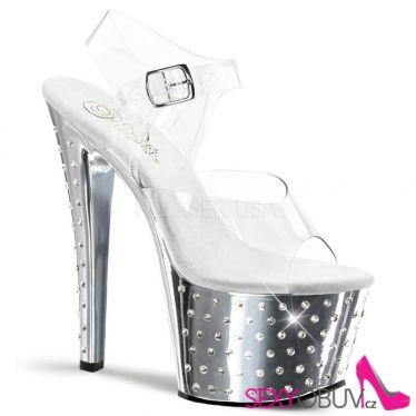STARDUST-708 Stříbrné/průhledné pole dance taneční sexy boty na podpatku a platformě