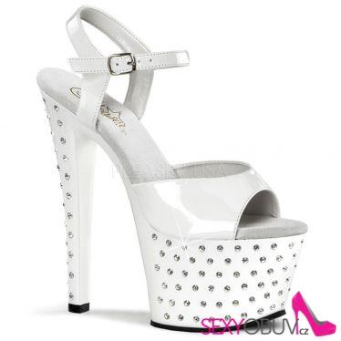 STARDUST-709 Bílé pole dance taneční sexy boty na podpatku a platformě