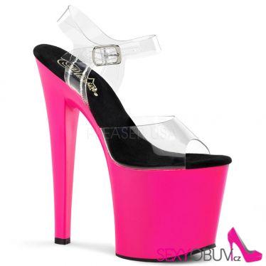 TABOO-708UV Průhledné/růžové svítíví sexy boty na platformě a podpatku