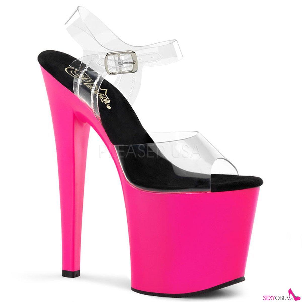 TABOO-708UV Průhledné růžové svítíví sexy boty na platformě a podpatku e341fbe470