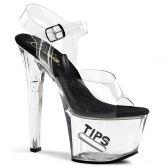 TIPJAR-708-5 Průhledné/černé sexy boty s kasičkou na peníze