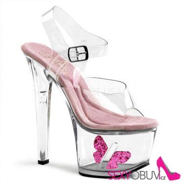 TIPJAR-708-7 Průhledné sexy boty s kasičkou na peníze
