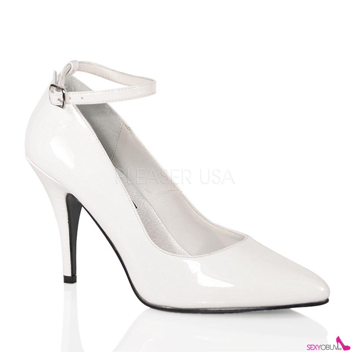 VANITY-431 Bílé dámské lodičky na podpatku e8d5b0d075