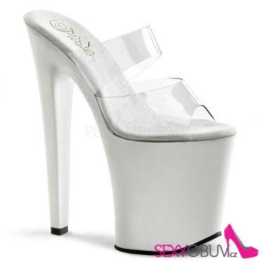 XTREME-802 Sexy bílé/průhledné boty na vysokém podpatku a platformě