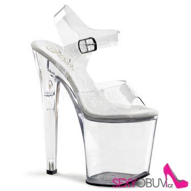 XTREME-808 Sexy průhledné boty na vysokém podpatku a platformě