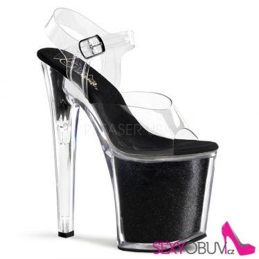 XTREME-808G Sexy černé/průhledné boty na vysokém podpatku a platformě