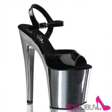 XTREME-809 Sexy černé/chrom boty na vysokém podpatku a platformě