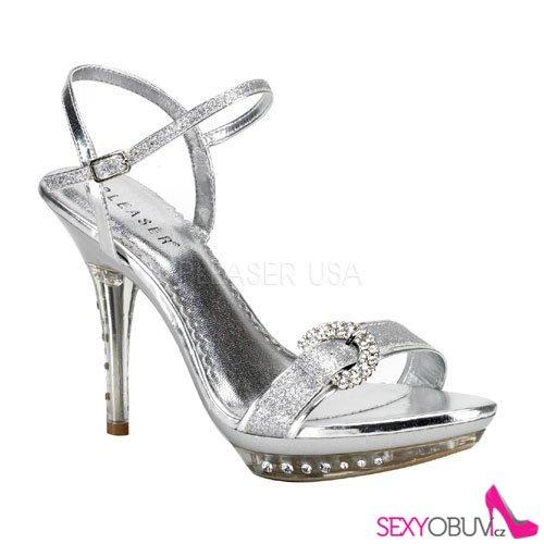 01803d390e2 MONET-09 Stříbrné plesové boty na podpatku