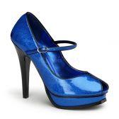 PLEASURE-02G Modré dámské lodičky na podpatku a platformě