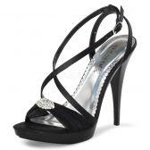 REVEL-07 Černá dámská plesová obuv na podpatku
