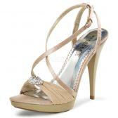 REVEL-07 Béžová dámská plesová obuv na podpatku