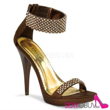 REVEL-16 Bronzová dámská plesová obuv na podpatku