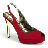 PEONY-03 Červené sandále na podpatku a platfromě