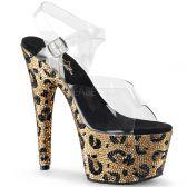 BEJEWELED-708LP Leopard sexy sandále na podpatku a platformě