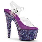 BEJEWELED-708MS Fialové luxusní sexy boty na podpatku
