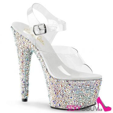 BEJEWELED-708MS Stříbrné sexy luxusní sandále