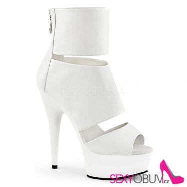 DELIGHT-600-16 Bílé lakované kotníčkové sexy boty