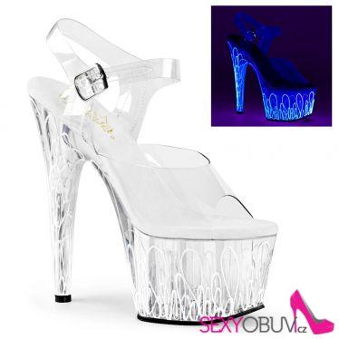 ADORE-708UVL Sexy průhledné sandály na podpatku svítící sexy boty