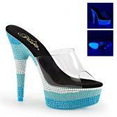 DELIGHT-601UVS Modré dámské pantofle sexy svítící boty