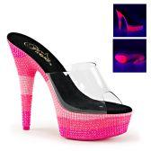 DELIGHT-601UVS Růžové dámské pantofle sexy svítící boty