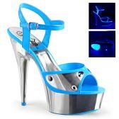 DELIGHT-609NC Modré dámské sandály sexy svítící boty