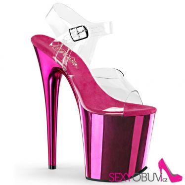 FLAMINGO-808 Růžové sandály na extra vysokém podpatku