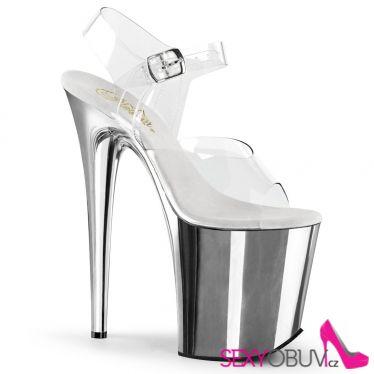 FLAMINGO-808 Stříbrné sandály na extra vysokém podpatku