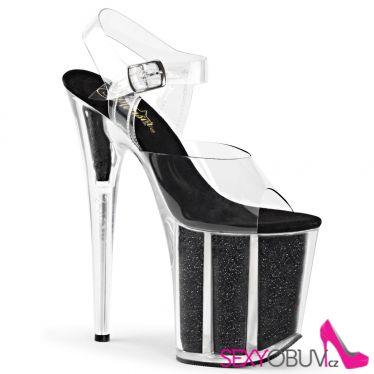 FLAMINGO-808G Sexy černé boty na extra vysokém podpatku