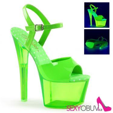 SKY-309UVT Zelené svítící sexy boty na extra vysokém podpatku