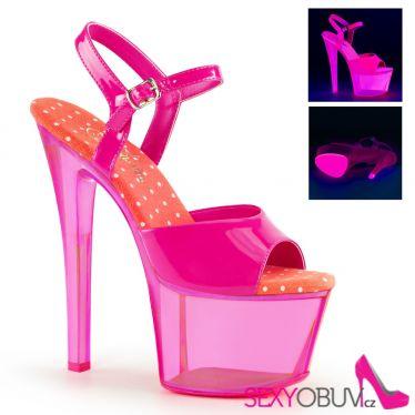 SKY-309UVT Růžové svítící sexy boty na extra podpatku