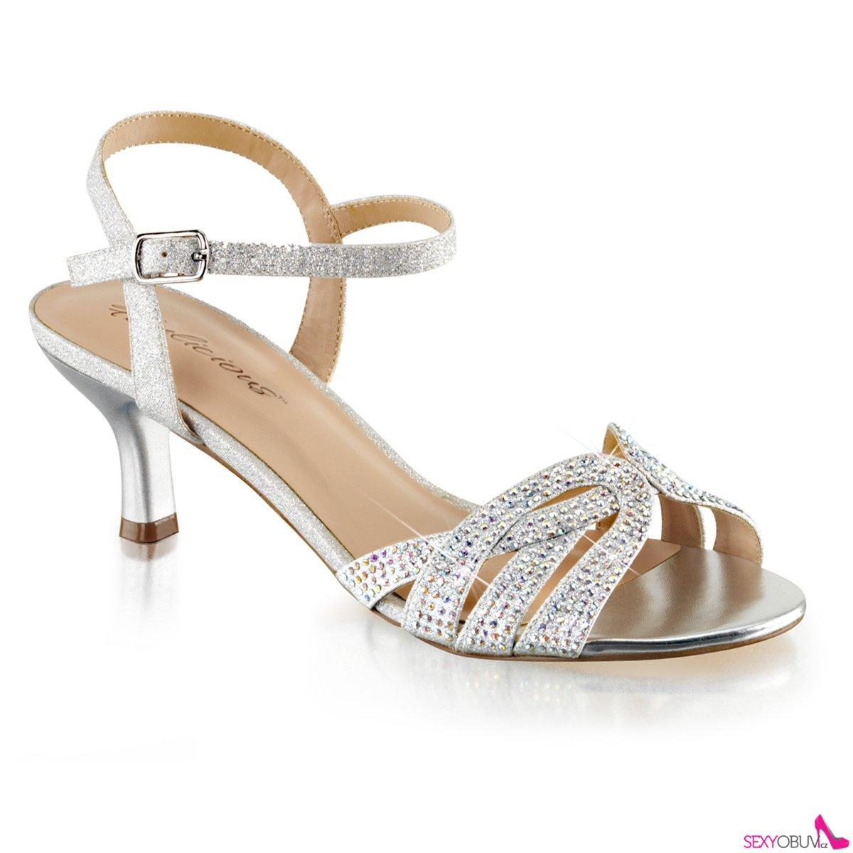AUDREY-03 Stříbrné společenské sandály na nízkém podpatku  03c8621154