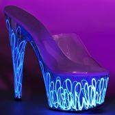 ADORE-701UVL Bílé svítící pantofle na vysokém podpatku a platformě