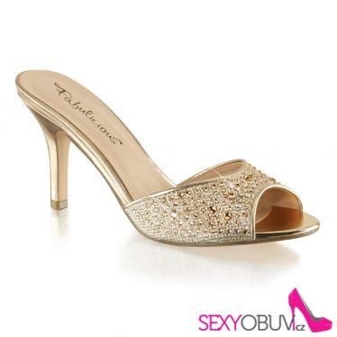 LUCY-01 Zlaté pantofle na středně vysokém podpatku