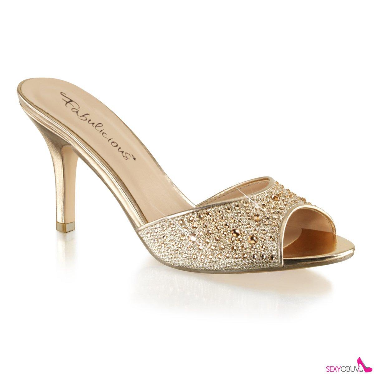 LUCY-01 Zlaté pantofle na středně vysokém podpatku 43b708d1d8
