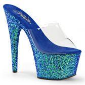 ADORE-701LG Sexy modré strip pantofle na vysokém podpatku