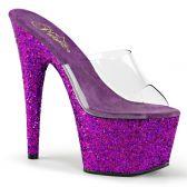 ADORE-701LG Sexy fialové strip pantofle na vysokém podpatku