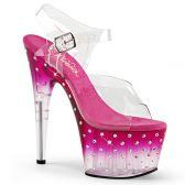 STARDUST-708T Růžové sexy sandály na vysokém podpatku a platformě