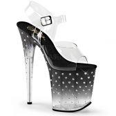 STARDUST-808T Černo průhledné sexy sandály