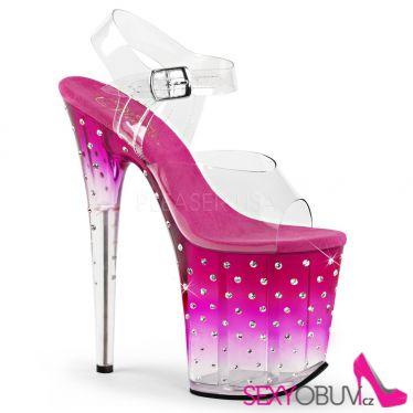 STARDUST-808T Růžovo průhledné sexy sandály
