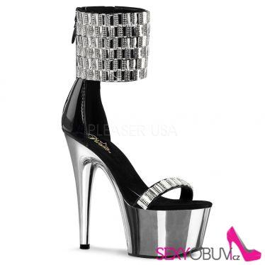ADORE-789RS Luxusní stříbrné sexy sandály s vysokým páskem nad kotník