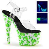 BEJEWELED-708UVLP Zelené svítící luxusní boty na vysokém podpatku a platformě