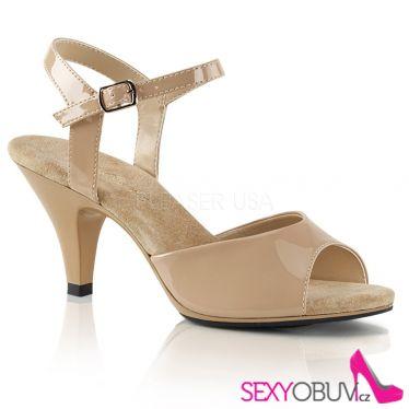 BELLE-309 Béžové sandály na nižším podpatku
