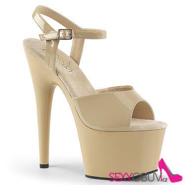 ADORE-709 Béžové sexy boty na vysokém podpatku